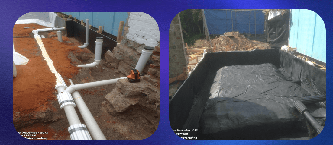 Under concrete slab waterproofing