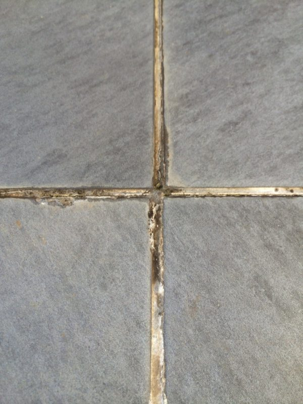 Moisture seeps through tile grout